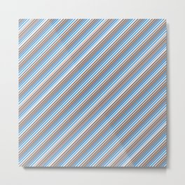 Blue Grey White Inclined Stripes Metal Print