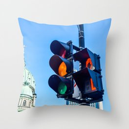 Orange color on the traffic light in Montreal Throw Pillow