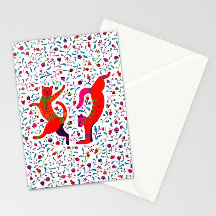 Dancing cats among spring flowers, swing & rock. Chats dansant dans les fleurs de printemps Stationery Cards