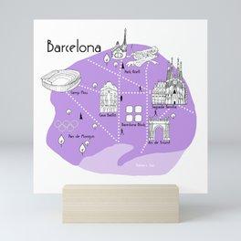 Barcelona Map - Purple Mini Art Print