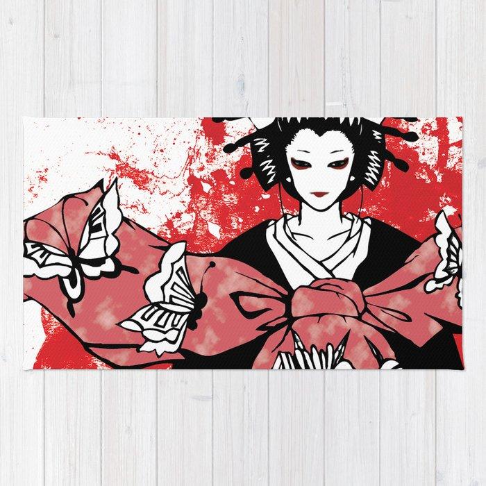 GEISHA - Japan | Vector | Manga | Blood | Kimono | Butterfly | Kabuki | Anime | Vector Rug
