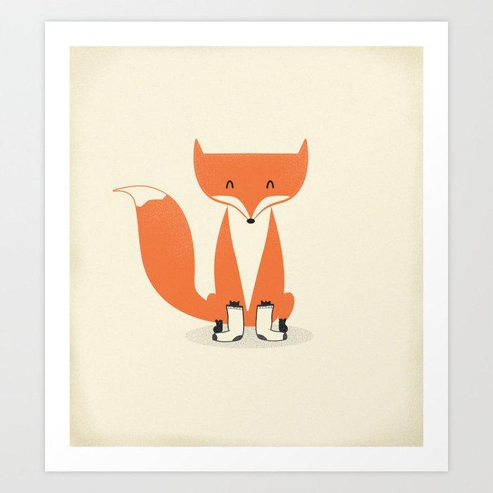 A Fox With Socks Art Print