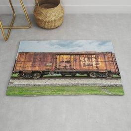Rusting Railroad Boxcar Rusted Railway Train  Rug