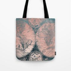 Vintage World Map Rose Gold and Storm Gray Navy Tote Bag