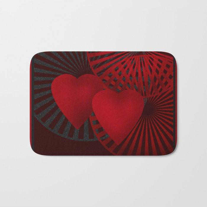 Love. The loving hearts .Black background . Bath Mat