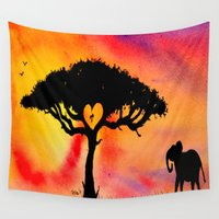 africa Wall Tapestries featuring Africa by TRyderArt