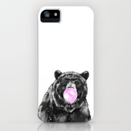 Bubble Gum Big Bear Black and White iPhone Case