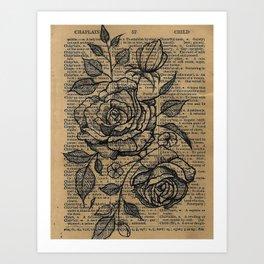 Antiqued Roses Art Print