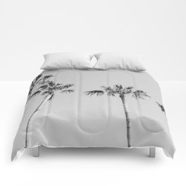 Black Palms // Monotone Gray Beach Photography Vintage Palm Tree Surfer Vibes Home Decor Comforters