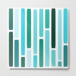 Mid Century Modern Stripes Turquoise Metal Print
