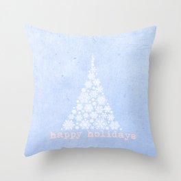 Blue Happy Holidays Christmas Design Throw Pillow