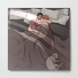 couple sleep with dog Metal Print