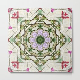 Orchids And Stone Wall Kaleidoscope 1764 Metal Print