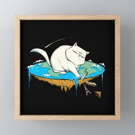 Flat Earth Cat Framed Mini Art Print