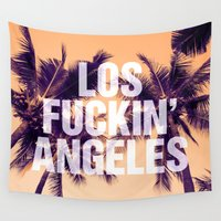 los angeles Wall Tapestries featuring Los Angeles by Text Guy