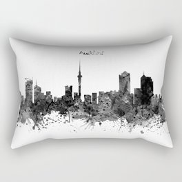 Auckland Black and White Watercolor Skyline Rectangular Pillow