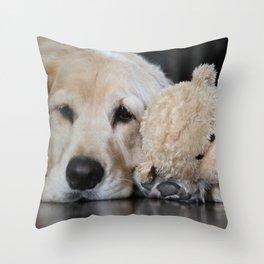 Golden Retriever with Best Friend Throw Pillow