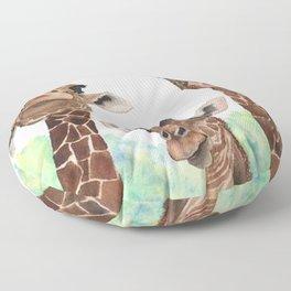 Giraffe's Family Portrait by Maureen Donovan Floor Pillow