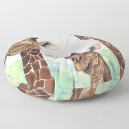 Giraffe's Family Portrait by Maureen Donovan Floor Pillow