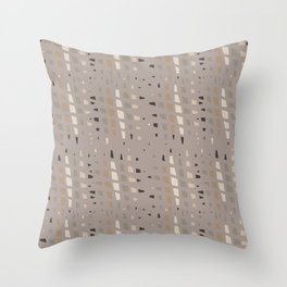 Taupe Grey Linen Brown Chip Abstract Throw Pillow