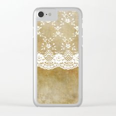 The elegant lady- White luxury foral lace on grunge backround Clear iPhone Case