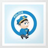 police Art Prints featuring Police by Emir Simsek