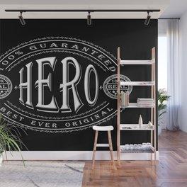 100% Hero (white 3D effect badge on black) Wall Mural
