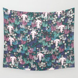 Cute Axolotl and Coral Pattern Wall Tapestry