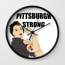 Pittsburgh Strong Rosie The Riveter Gifts Wall Clock