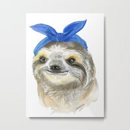 Sloth with a Blue Scarf Watercolor Metal Print