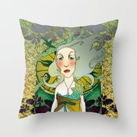 mucha Throw Pillows featuring mucha chas by lilumon