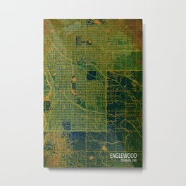 Green Englewood year 1940, us maps Metal Print