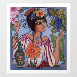 Vineyard Muse or Monica watches the little yellow butterfly while hiding a hair pin for just in case Art Print