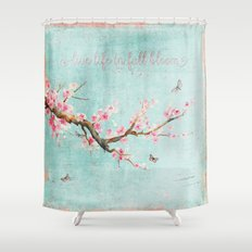 Live life in full bloom - Romantic Spring Cherryblossom butterfly  Watercolor illustration on aqua Shower Curtain