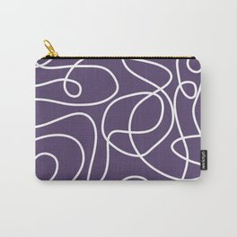 Doodle Line Art   White Lines on Dark Purple Carry-All Pouch