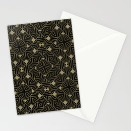 Elegant Retro Black Gold Art Deco Style Pattern Stationery Cards