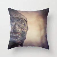 buddhism Throw Pillows featuring Buddha in Haw Phra Kaew, Laos by Maria Heyens