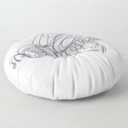 Honey Bee Line Drawing Floor Pillow