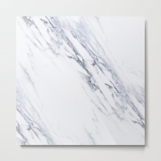 White Marble with Classic Black Veins Metal Print