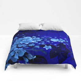 Cherry blossom, blue colors Comforters