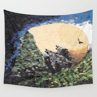 howl Wall Tapestries featuring Moon Howl by Connie Campbell