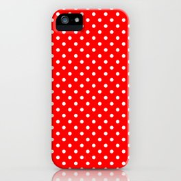 Polka dots White dots over red iPhone Case
