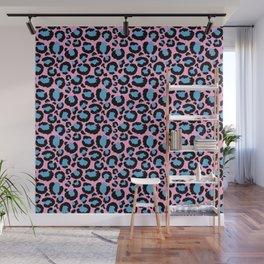 Pastel Pink & Blue Leopard Animal Print Pattern Wall Mural