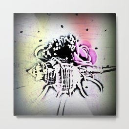 Old painted shell and rose Metal Print