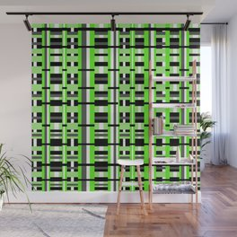 Plaid in Lime Green, Black & Gray Wall Mural