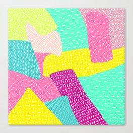Modern summer rainbow color block hand drawn patchwork pattern illustration Canvas Print