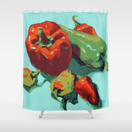 Peppers art print food kitchen art Shower Curtain