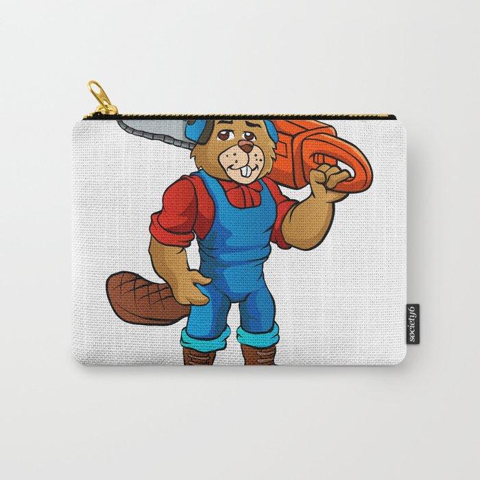 Beaver Lumberjack Cartoon Carry-All Pouch