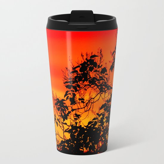 Silhouette of leaf with red autumn sky  Metal Travel Mug