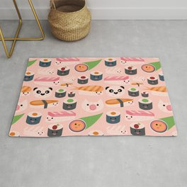 Kawaii sushi light pink Rug